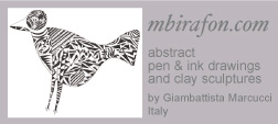 Abstract pen & ink drawings and clay sculptures by Giambattista Marcucci, Italy